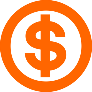 dolar money icon orange
